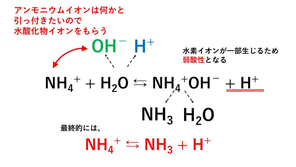 加水分解の仕組み(アンモニウムイオン)