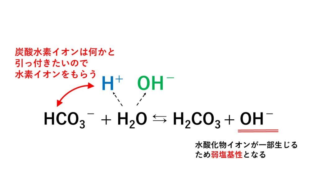 加水分解の仕組み(炭酸水素イオン)